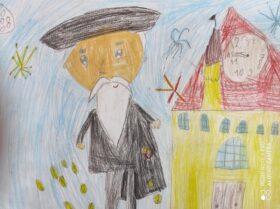 rysunek starca idącego obok zamku