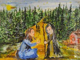ognisko w lesie, siedzące przy nim dwie postaci